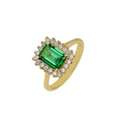 Gold rosette ring with emerald and white zircons 14 carats R1
