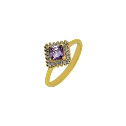 Gold rosette ring with amethyst square and white 14 carat zircon R6