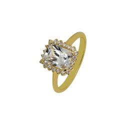 Gold rosette ring with rectangular white center and white zircons 14 carats R5