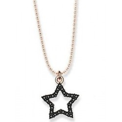 SILVER GOLD PLATED PINK GOLD STAR NECKLACE WITH BLACK CRYSTALS SWAROVSKI ELEMENTS QUARANTEE E1