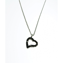 Heart necklace with black zircon made of white gold with 14 carat chain