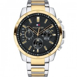 Tommy Hilfiger Decker 1791559 Multifunction with two-tone bracelet and black dial surprise box gift silver jewel 29e