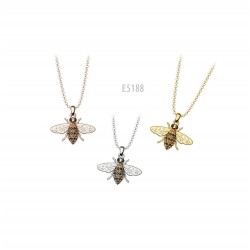 SILVER FLY NECKLACE WITH SWAROVSKI E5188 CRYSTALS