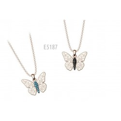 SILVER BUTTERFLY NECKLACE IN PINK COLOR WITH SWAROVSKI CRYSTALS E5187