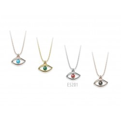 SILVER EYE NECKLACE WITH SWAROVSKI CRYSTALS IN VARIOUS COLORS E5201