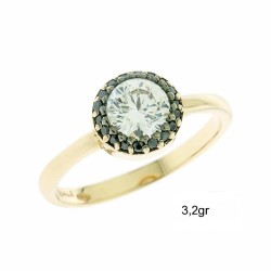 ROSETTE RING GOLD 14 KARAT WITH WHITE AND BLACK ZIRCON FA50 DESIGNED IN ITALY