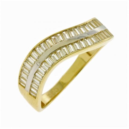 14K GOLD RING WITH WHITE ZIRCON BAGHETTES KUMIAN FA16