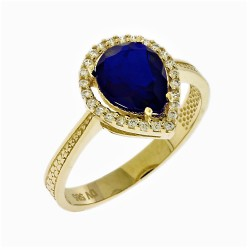 14ct GOLD RING DROP DESIGN WITH WHITE AND BLUE ZIRCON KUMIAN FA15