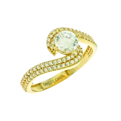 GOLD RING 14 KARAT WITH WHITE ZIRCON FA97 SINGLE STONE WITH SIDE DESIGNED IN ITALY