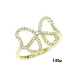 14ct GOLD RING WITH WHITE ZIRCON FA99
