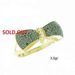 14ct GOLD RING WITH WHITE ZIRCON AND Emerald ZIRCON FA45