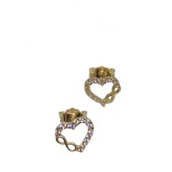 GOLDEN HEART WITH INFINITE DESIGN AND WHITE ZIRCON K14 SK 20