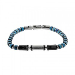 AN-BR028 VISETTI Stainless steel bracelet with blue details.
