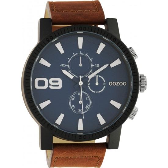 OOZOO c10672 black frame brown strap blue dark dial