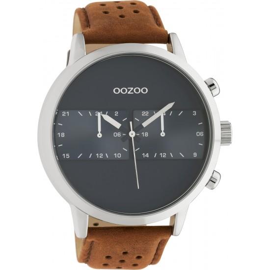 oozoo C10673 brown strap black dial