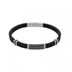DI-BR017 Genuine leather bracelet in black with stainless steel details in silver and black.