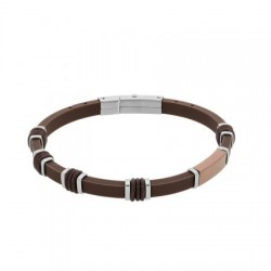 DI-BR018 Genuine leather bracelet in brown color with stainless steel details in silver and rose gold color.