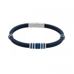 DI-BR025 Genuine leather bracelet in blue with stainless steel details in silver and blue.
