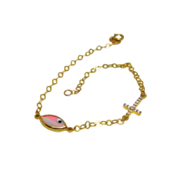 14K GOLD BRACELET POLISHED WITH MATTE PINK FILTNISI AND CROSS WITH WHITE ZIRCON BR1010