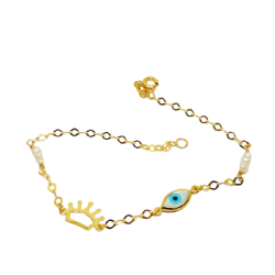 14K GOLD BRACELET WITH CROWN-CROWN EYE MADE OF CURVER AND PEARLS ΒΡ1008