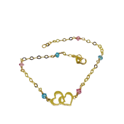 14K GOLD BRACELET WITH TWO HEARTS AND PINK AND BLUE STONES ZIRCON BR1001