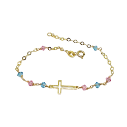 14Κ GOLD BRACELET POLISHED WITH CROSS PINK AND BLUE ZIRCON NEW DESIGN ΒΡ1006