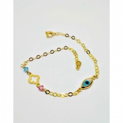 14 carat GOLD BRACELETS WITH OVAL EYE AND CROSS DECORATED WITH BLUE AND PINK ZIRCON BRP1007
