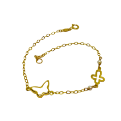 BR1012 14ct Gold bracelet WITH FUTISHIE BUTTERFLY AND CROSS FOR CHILD AND WOMEN BR1012