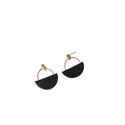 Handmade stud earrings made of clay combined with steel ring in gold color and silicone clasp.X8