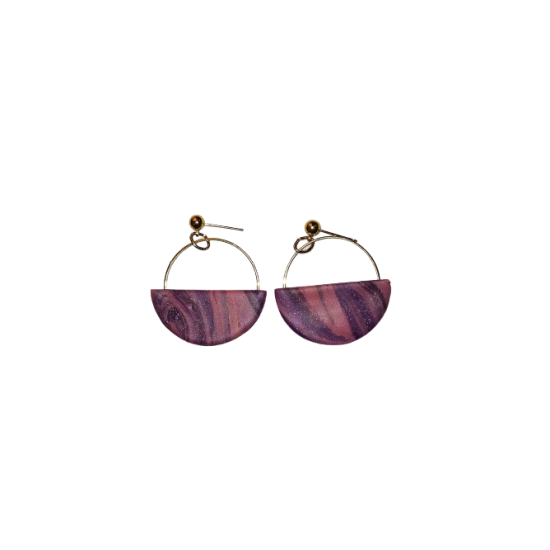 Handmade stud earrings made of clay combined with steel ring in gold color and X9 silicone clasp