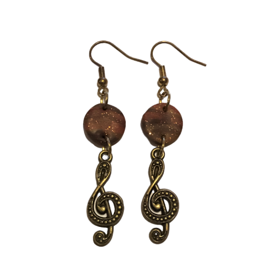 Handmade Dangle Earrings that combine elements of clay and bronze in brown - orange shades X3
