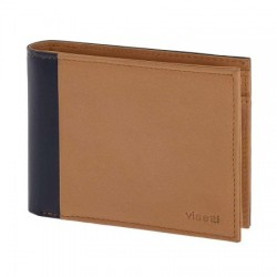 LO-WA026NC VISETTI Leather wallet in camel-blue color, with smooth surface.