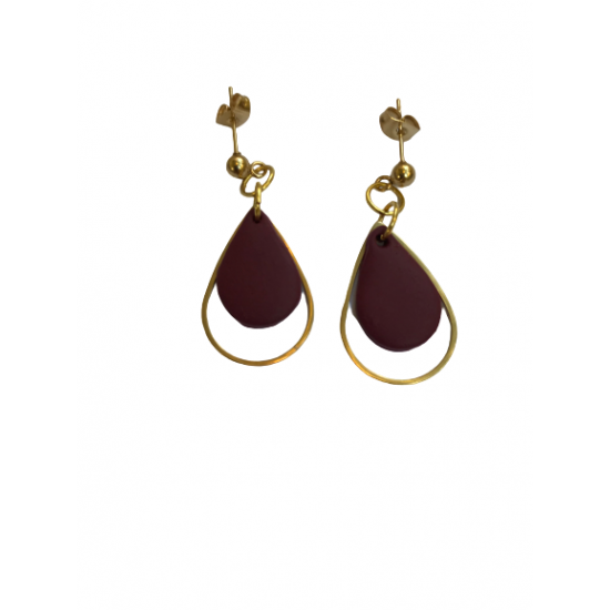 handmade earrings - teardrop made of clay in burgundy color combined with steel elements and clasp in gold color X17