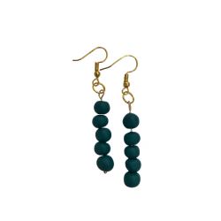 pendant earrings with handmade clay beads in petrol color combined with steel gold clasp X18