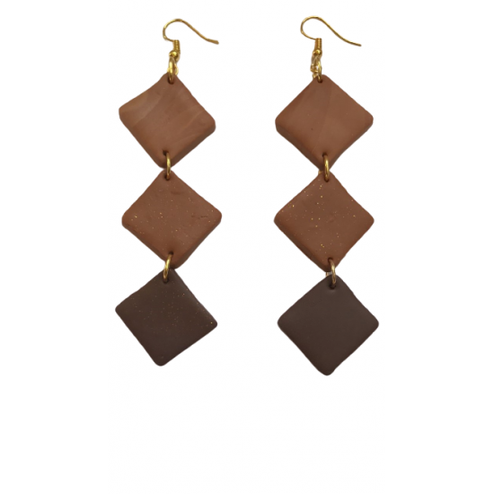 Handmade hanging earrings made of clay in brown color X14