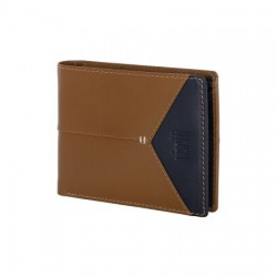 XL-WA004CM VISETTI Genuine leather wallet in brown color with blue detail.