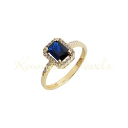 Gold rosette ring with london blue topaze  and white 14 carat zircon R7