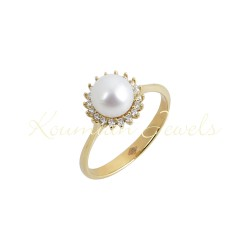 14k white gold pearl rosette ring with cubic zirconia stones R32