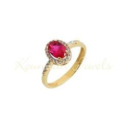 Gold rosette ring with london red topaze  and white 14 carat zircon R8