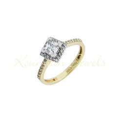 Gold ring with square WHITE GOLD center WITH cubic zirconia r23
