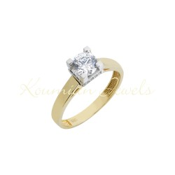 GOLD SINGLE STONE WITH WHITE GOLD CAST WITH CUBIC ZIRCONIA STONE SQUARE CAMPA R31 K14
