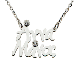 Classic Double Name (Top - Bottom) SILVER WITH ZIRCON AND IN ANY COLOR YOU WANT