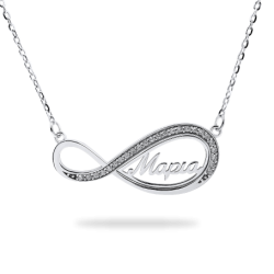 Pendants Infinity Frame with Stones - Name