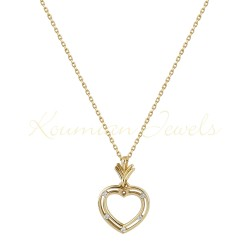 Gold heart necklace with white zircon with 14 carat koumian chain