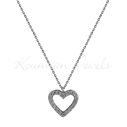 NECKLACE WHITE GOLD DOUBLE HEART WITH WHITE AND BLACK ZIRCON KOL90