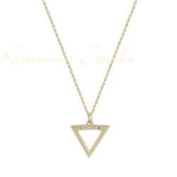 GOLD NECKLACE 14K TRIANGLE DESIGN WITH ZIRCONIA STONES HANDMADE KOUMIAN