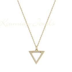 GOLD NECKLACE 14K TRIANGLE DESIGN WITH ZIRCONIA STONES HANDMADE KOUMIAN