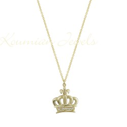 CROWN CROWN NECKLACE GOLD 14K HANDMADE KUMIAN WITH ZIRCONIA STONES
