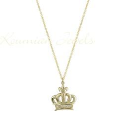 CROWN CROWN NECKLACE GOLD 14K HANDMADE KUMIAN WITH ZIRCONIA STONES