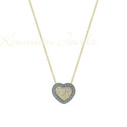 GOLDEN HEART NECKLACE WITH WHITE AND BLUE CUBIC ZIRCONIA STONES KOUMIAN